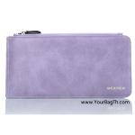 กระเป๋าสตางค์ผู้หญิงทรงยาว กระเป๋าเก็บบัตร รุ่นWeichen Multicard สีม่วง