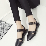 รองเท้าส้นแบนแฟชั่นสีดำ รัดส้น หัวแหลม มีเข็มขัดรัดส้นปรับระดับได้ กระชับเท้า ทรงทันสมัย แฟชั่นเกาหลี