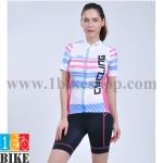ชุดจักรยานแขนสั้น Cheji 2015 สีขาวฟ้าชมพู