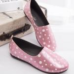 รองเท้าผ้าใบผู้หญิงสีชมพู ลายจุด แบบสวม ส้นแบน สไตล์หวาน น่ารัก ไม่ซ้ำใคร แฟชั่นเกาหลี