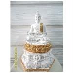 พระพุทธรูปปางมารวิชัย ( ปางสะดุ้งมาร ) สีขาวปิดทอง เนื้อเรซิ่น หน้าตัก 5นิ้ว สูง 12 นิ้ว (รวมฐาน)
