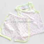 ไซด์ 6-9 เดือน ชุดเสื้อกล้ามกางเกง สีขาวลายดาว ขอบสีเขียว
