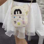 กระเป๋าสะพายข้างสีขาว กระเป๋าสะพายข้างหนัง PU มินิมิกกี้ สายโซ่สีทอง แฟชั่นเกาหลี