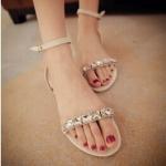 รองเท้าแตะผู้หญิงสีขาว แฟชั่นสไตล์โบฮีเมี่ยน แบบเปิดนิ้วเท้า ประดับเพชร