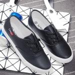 รองเท้าผ้าใบแฟชั่นเกาหลีสีดำ วัสดุหนัง แบบเชือกผูก เชือกกลม พื้นแบน เรียบง่าย ดูดี