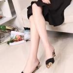 รองเท้าแตะผู้หญิงสีดำ พื้นลายเสือดาว หัวแหลม เปิดส้น หรูหรา แฟชั่นเกาหลี