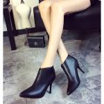 รองเท้าบูทส้นสูงสีดำ แบบซิป ทรงสวย ดูดี ส้นสูง9ซม. แฟชั่นเกาหลี