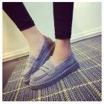 รองเท้าคัทชูผู้หญิงสีเทา ส้นหนา ลำลอง หัวหลม แบบสวม แฟชั่นเกาหลี