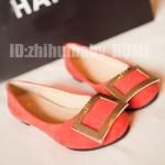 รองเท้าแฟชั่นผู้หญิงสีแดงกุหลาบ ทรงบัลเลต์ หุ้มส้น พื้นแบน
