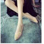 รองเท้าส้นเตี้ยผู้หญิงสีชมพู หัวแหลม ปักลายปีกผีเสื้อ แนววินเทจ เรียบหรู ดูดี แฟชั่นเกาหลี