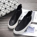 รองเท้าผ้าใบส้นตึกสีดำ หุ้มข้อ ผ้ากำมะหยี่ ประดับกากเพชร แบบสวม พื้นหนาสีขาว ทรงทันสมัย แฟชั่นเกาหลี