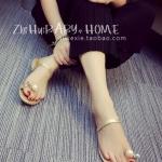 รองเท้าแตะผู้หญิงสีทอง ส้นแบน หัวมุกใหญ่ rhinestone ดูดี แฟชั่นเกาหลี