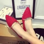 รองเท้าทำงานผู้หญิงสีแดง ส้นแบน หุ้มส้น หัวแหลม ประดับสร้อยทอง แฟชั่นเกาหลี