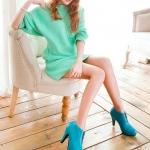 รองเท้าบู๊ทส้นสูงสีฟ้า ซิปหน้า หัวกลม ส้นสูง10cm สวยหรู แฟชั่นเกาหลี