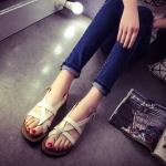 รองเท้ารัดส้นผู้หญิงสีขาว แบบสายรัด โชว์นิ้ว สไตล์โรมัน พื้นเรียบ แฟชั่นยุโรป