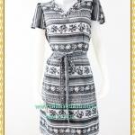 3134ชุดทํางาน เสื้อผ้าคนอ้วนคอวีสีเทาคอวีลายแขนฟิลิปปินส์แต่งโบด้านหน้า สไตล์ล้ำคลาสสิคสุภาพเป็นทางการอย่างโดดเด่นงานละเอียดด้วยซับใน