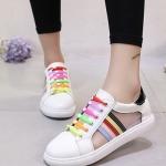 รองเท้าผ้าใบผู้หญิงสีดำ ลายสีรุ้ง ไม่ซ้ำใคร ระบายอากาศได้ดี แฟชั่นเกาหลี