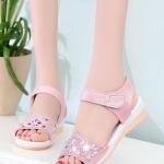 รองเท้าแตะผู้หญิงสีชมพู รัดส้น หัวแต่งลายฉลุประดับเพชร สไตล์หวาน แฟชั่นเกาหลี