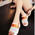 รองเท้าส้นเตารีดสีทอง แบบสวม เปิดส้น หัวเจาะลายดาว น่ารัก แฟชั่นเกาหลี