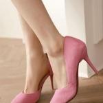 รองเท้าส้นสูงสีชมพู หุ้มส้น หัวแหลม แบบส้นเข้ม ส้นสูง10cm ทรงเจ้าหญิง แฟชั่นเกาหลี