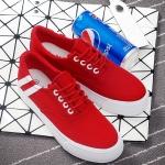 รองเท้าผ้าใบแฟชั่นเกาหลีสีแดง แถบสีขาว แบบเชือกผูก เชือกกลม พื้นหนา ทรงทันสมัย น่ารัก