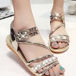 รองเท้าแตะผู้หญิงสีทอง รัดส้น ประดับเพชรหรูหรา สไตล์โรมัน วัสดุพียู สวมใส่สบาย กระชับเท้า แฟชั่นเกาหลี