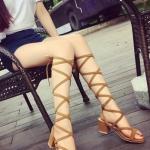 รองเท้าส้นสูงแฟชั่นสีน้ำตาลอ่อน แบบสายรัดพันเท้า สไตล์โรมัน เซ็กซี่ ขาเรียวยาว แฟชั่นเกาหลี