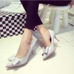 รองเท้าส้นสูงสีเทา หุ้มส้น หัวแหลม ประดับโบว์ แนวหวาน แฟชั่นเกาหลี