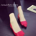 รองเท้าคัทชูผู้หญิงสีแดง ส้นเตี้ย หัวแหลม ดีไซส์ทันสมัย ดูดี ทรงสุภาพ แฟชั่นเกาหลี
