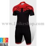 ชุดจักรยานแขนสั้น Super Hero Spider Man สีแดงดำ