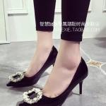 รองเท้าส้นแบนแฟชั่นสีดำ รัดส้น แบบสายรัด หัวแหลม สไตล์โรมัน ดูดี แฟชั่นเกาหลี