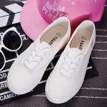 รองเท้าผ้าใบแฟชั่นผู้หญิงสีขาว พื้นขาว ส้นเตี้ย แบบเชือกผูก น่ารัก ทรงทันสมัย แฟชั่นเกาหลี