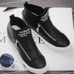 รองเท้าผ้าใบแฟชั่นเกาหลีสีดำ หุ้มข้อ แบบซิป ทรงทันสมัย น่ารัก แฟชั่นเกาหลี