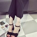 รองเท้าส้นสูงสีดำ ส้นหนา รัดส้น หนังพียู มีเข็มขัดปรับระดับได้ ดูดี แฟชั่นเกาหลี