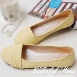 รองเท้าส้นแบนผู้หญิงสีเหลือง หัวกลม หุ้มส้น วัสดุPU หวานสไตล์เกาหลี