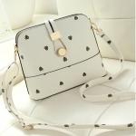 กระเป๋าสะพายข้างสีขาว ทรงสี่เหลียม หนังPUนิ่มคุณภาพสูง สวยหรู แฟชั่นเกาหลี