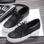 รองเท้าผ้าใบแฟชั่นเกาหลีสีดำ มีภู่ระบาย เชือกผูกแบบโบว์ พื้นหนา น่ารัก ทันสมัย ใส่ลำลอง