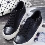 รองเท้าผ้าใบแฟชั่นผู้หญิงสีดำ หนังจระเข้ แบบเชือกผูก ทรงคลาสสิค เรียบง่าย ดูดี แฟชั่นเกาหลี