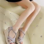 รองเท้าส้นเตารีดแบบรัดส้น วัสดุพียูเกรดคุณภาพ (สีเทา)