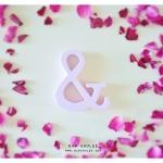 Spring Beauty - สัญลักษณ์ & (Ampersand) ตั้งโต๊ะ งานไม้สัก โทนสีชมพู