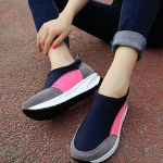 รองเท้าผ้าใบเสริมส้นสีกุหลาบ วัสดุผ้าขนสัตว์ แบบสวม กระชับเท้า รองรับน้ำหนักได้ดี ส้นสูง4cm ทรงทันสมัย แฟชั่นเกาหลี