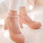 รองเท้าคัทชูส้นสูงสีชมพู หัวกลม มีเข็มขัดรัดข้อเท้า หนังไมโครไฟเบอร์ ส้นสูง8cm แฟชั่นเกาหลี