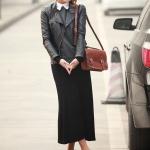 รองเท้าส้นเตี้ยผู้หญิงสีดำ ตัดทูโทน หุ้มส้น หัวกลม ประดับโบว์ ส้นสูง1.5cm แนวหวาน สไตล์แฟชั่นเกาหลี
