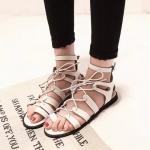 รองเท้ารัดส้นผู้หญิงสีขาว แบบมีเชือกรัด พื้นเรียบ มีเข็มขัดรัดข้อเท้า แฟชั่นเกาหลี