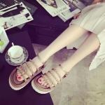 รองเท้ารัดส้นผู้หญิงสีทอง แบบเปิดนิ้ว ประดับสร้อยทอง แนววินเทจ แฟชั่นเกาหลี
