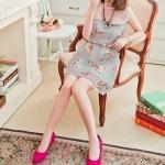 รองเท้าคัทชูส้นเตี้ยสีแดง หัวแหลม ส้นสูง4cm สวยน่ารัก ใส่แล้วเท้าเล็ก แฟชั่นเกาหลี