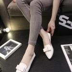 รองเท้าคัทชูส้นแบนสีขาว หัวแหลม แต่งโบว์ ขอบลอน แบบสวม แนวหวาน ทรงสุภาพ ใส่ทำงาน แฟชั่นเกาหลี