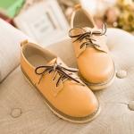 รองเท้าผ้าใบแฟชั่นผู้หญิงสีเหลือง หัวกลม แบบเชือกผูก หนังPU ส้นแบน แนววินเทจ แฟชั่นเกาหลี