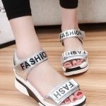 รองเท้าส้นเตารีดสีเงิน แบบรัดส้น FASHION สวมใส่สบายเท้า ทรงทันสมัย แฟชั่นเกาหลี