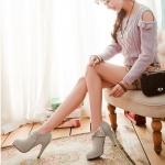รองเท้าคัทชูส้นสูงสีเทา แบบส้นแหลม ประดับโบว์ ซิปข้าง ส้นสูง10cm แฟชั่นเกาหลี
